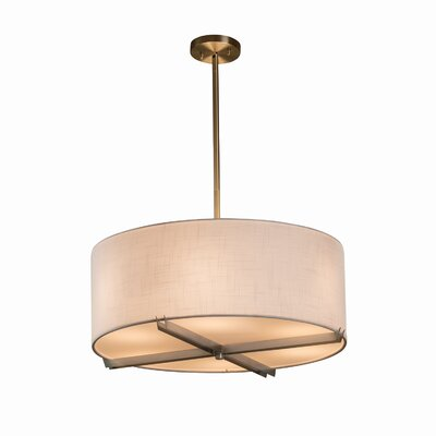 Textile 6 Light Drum Pendant Finish: Dark Bronze, Shade Color: White