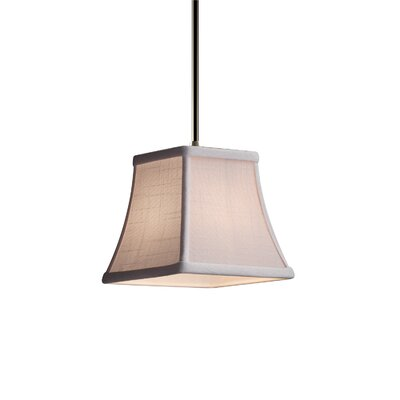 Textile 1-Light Mini Pendant Shade Color: Cream, Finish: Brushed Nickel