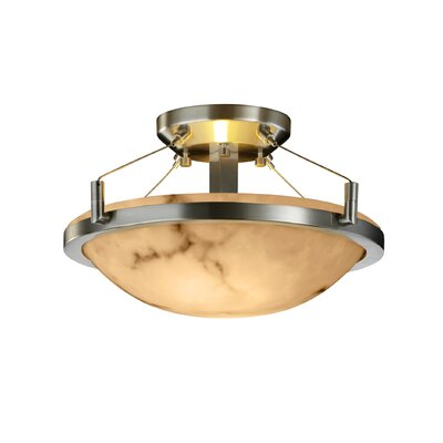 Odalis Round Semi Flush Mount in Round Bowl Shape Fixture Finish: Matte Black
