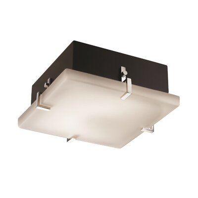 Luzerne 2-Light Square Flush Mount Finish: Polished Chrome, Shade Color: Opal