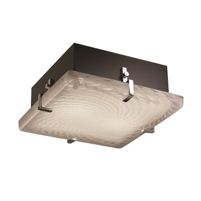 Luzerne 2-Light Square Flush Mount Finish: Polished Chrome, Shade Color: Weave