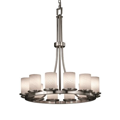Leland 12-Light Shaded Chandelier Shade Color: Weave, Metal Finish: Nickel