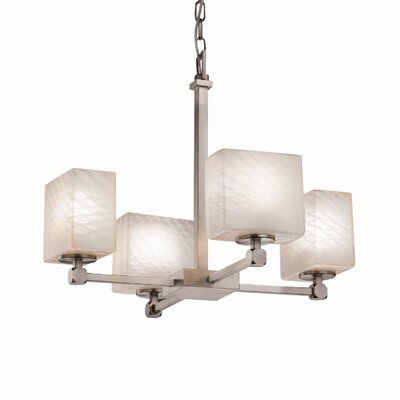 Luzerne 4-Light Shaded Chandelier Finish: Brushed Nickel, Shade Color: Caramel