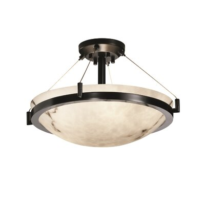 Keyon 3-Light Semi Flush Mount Finish: Matte Black