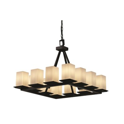 Luzerne 12-Light Shaded Chandelier Metal Finish: Matte Black, Shade Color: Ribbon