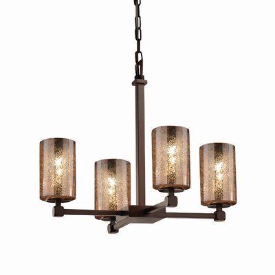 Luzerne 4-Light Shaded Chandelier Finish: Brushed Nickel, Shade Color: Ribbon