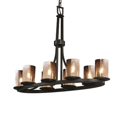 Leland 8-Light Kitchen Island Pendant Shade Color: Ribbon, Metal Finish: Matte Black