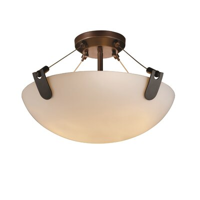 Miguelangel 3-Light Semi Flush Mount Shade Color: Opal White Glass, Finish: Dark Bronze