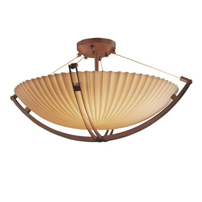 Thora 6-Light Round Bowl Semi Flush Mount Finish: Dark Bronze, Impression: Banana Leaf