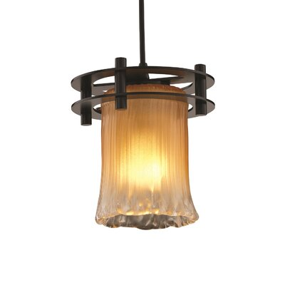 Kelli 1-Light Mini Pendant Finish: Matte Black, Shade Color: Gold w/ Clear Rim