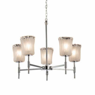 Kelli 5-Light Shaded Chandelier Finish: Brushed Nickel, Shade Color: Gold w/ Clear Rim