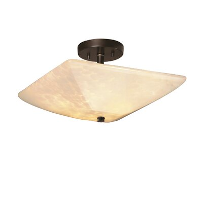 Rocky Square Semi Flush Mount Shade Color: Opal White Glass, Finish: Antique Brass