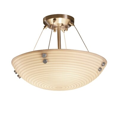 Thora Transitional 3-Light Sawtooth Semi Flush Mount Finish: Dark Bronze