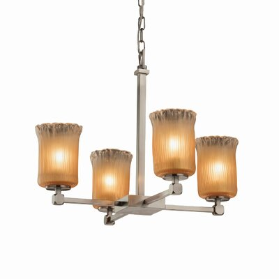 Kelli 4-Light Shaded Chandelier Finish: Polished Chrome, Shade Color: Clear Textured
