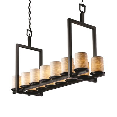 Katya 14-Light Drum Pendant Metal Finish: Dark Bronze, Impression: Waves