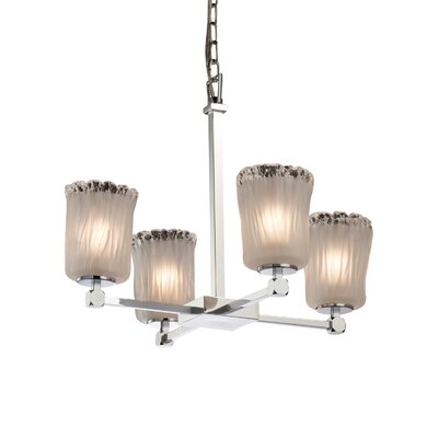 Kelli 4-Light Shaded Chandelier Finish: Polished Chrome, Shade Color: White Frosted
