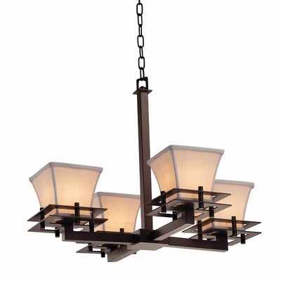 Red Hook 4 Light Square Flared Chandelier Finish: Matte Black, Shade Color: White