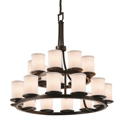 Textile Dakota 21 Light Cylinder w/ Flat Rim Drum Chandelier Finish: Dark Bronze, Shade Color: Cream