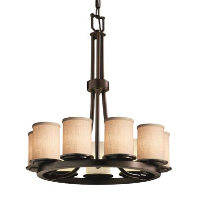 Textile Dakota 9 Light Cylinder w/ Flat Rim Mini Chandelier Finish: Dark Bronze, Shade Color: White