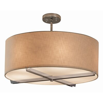 Textile 6 Light Drum Pendant Finish: Polished Chrome, Shade Color: Cream