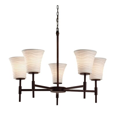 Darrien 5-Light Shaded Chandelier Finish: Matte Black, Impression: Waves
