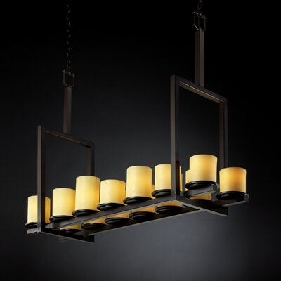 Wantage 14-Light Drum Pendant Shade Color: Amber, Metal Finish: Dark Bronze