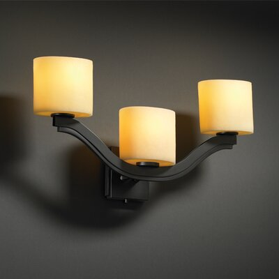 Justice Design Group CandleAria Bend 3 Light Wall Sconce - Shade Color: Amber, Finish: Dark Bronze, Shade Option: Oval