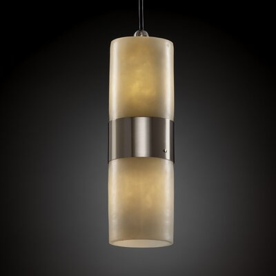Wantage 2-Light Pendant Metal Finish: Matte Black, Shade Color: Cream, Shade Option: Cylinder with Flat Rim