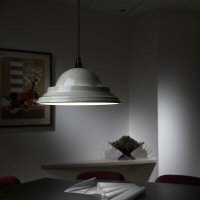 Radiance 1 Light Pendant Finish: Celadon Green Crackle, Cord Option: Black Cord