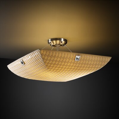 Thora 3-Light Bamboo Semi Flush Mount Finish: Matte Black
