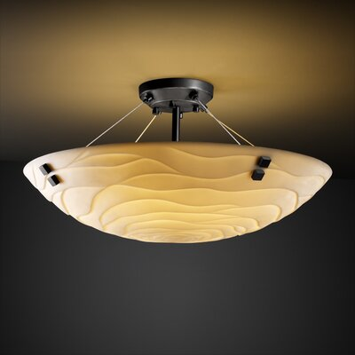 Thora 3-Light Semi Flush Mount in Banana Leaf Finish: Brushed Nickel