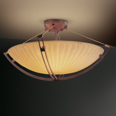 Crossbar Porcelina 6 Light Square Bowl Semi Flush Mount Finish: Dark Bronze