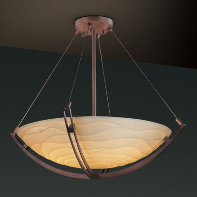 Porcelina 6 Light Square Bowl Inverted Pendant Metal Finish: Dark Bronze