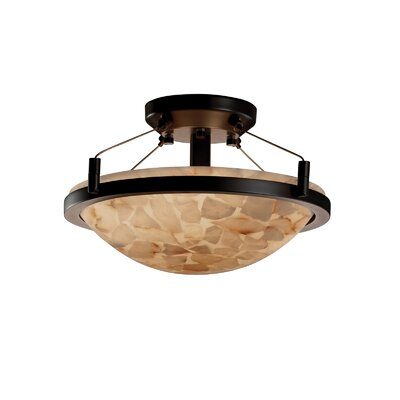 Keana Rocks Round Semi Flush Mount Finish: Dark Bronze