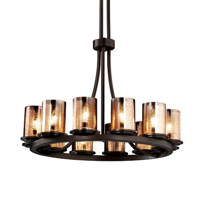 Leland 12-Light Shaded Chandelier Shade Color: Ribbon, Metal Finish: Dark Bronze