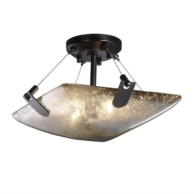 Miguelangel 2-Light Semi Flush Mount Finish: Matte Black, Shade Color: Mercury Glass