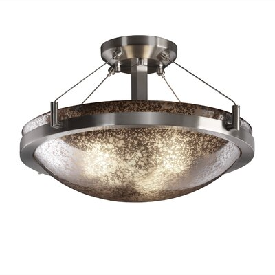 Rocky Round Semi Flush Mount Shade Color: Opal White Glass, Finish: Dark Bronze