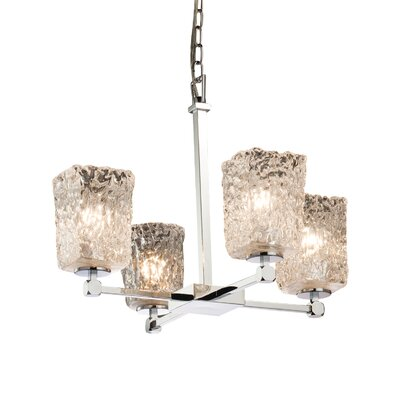 Kelli 4-Light Shaded Chandelier Finish: Brushed Nickel, Shade Color: Whitewash