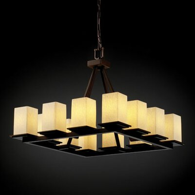 Luzerne 12-Light Shaded Chandelier Metal Finish: Brushed Nickel, Shade Color: Weave