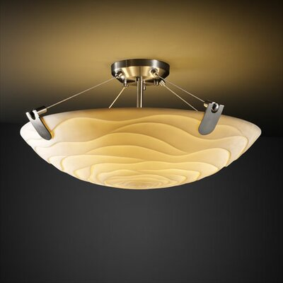 Thora 3-Light Round Bowl Semi Flush Mount Impression: Banana Leaf, Finish: Dark Bronze
