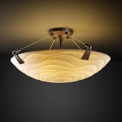 Nina Tapered Clips 3 Light Semi Flush Mount Shade Shape: Round Bowl, Impression: Banana Leaf, Finish: Dark Bronze