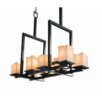 Persei 8-Up and 3-Down Light Bridge Chandelier Shade Option: Square with Melted Rim, Shade Color: Amber, Metal Finish: Matte Black