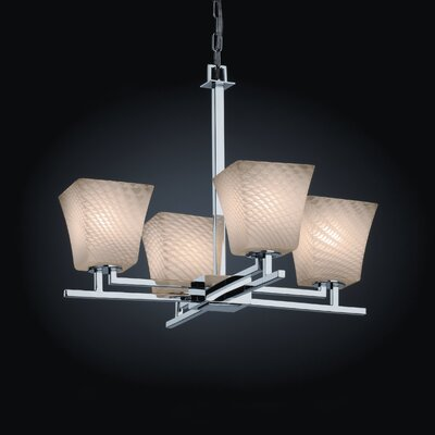Bissett 4-Light Squared Flare Shaded Chandelier Shade Color: Weave, Metal Finish: Polished Chrome