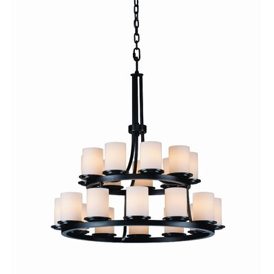 Dakota Fusion 21-Light Candle Style Chandelier Shade Color: Ribbon, Finish: Dark Bronze