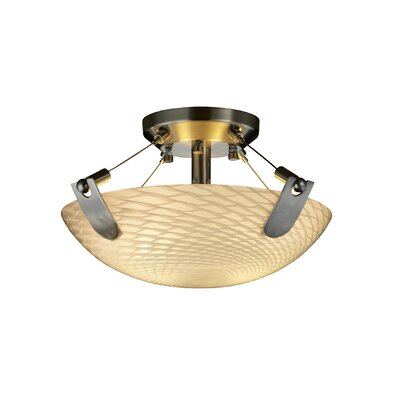 Miguelangel 2-Light Semi Flush Mount Shade Color: Weave, Finish: Nickel
