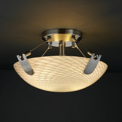 Miguelangel 2-Light Semi Flush Mount Shade Color: Weave, Finish: Brushed Nickel