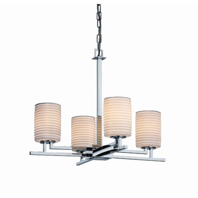 Hannah 4-Light Shaded Chandelier Metal Finish: Nickel, Impressions: Sawtooth