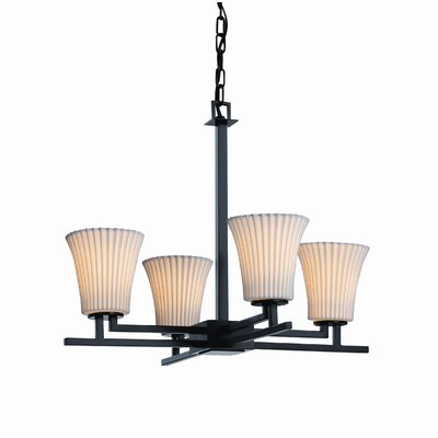 Hannah 4-Light Shaded Chandelier Metal Finish: Nickel, Impressions: Bamboo