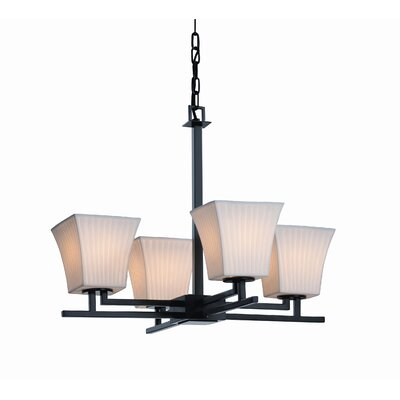 Aero LumenAria 4 Light Chandelier Shade Option: Cylinder with Broken Rim, Metal Finish: Nickel