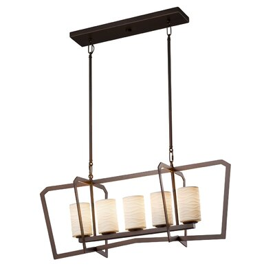 Keyon 5-Light LED Kitchen Island Pendant Base Finish: Dark Bronze